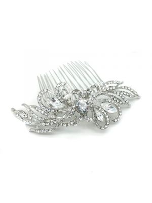 Crystal Comb | Rhodium Plated
